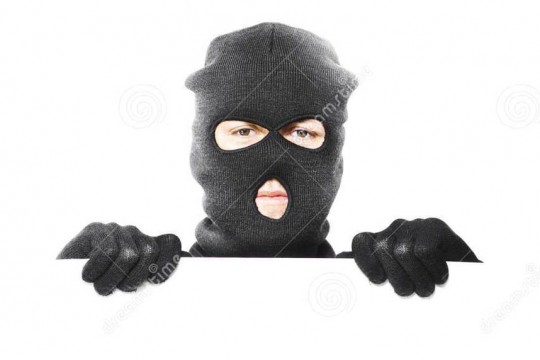 thief-robbery-mask-holding-blank-white-board-25532585